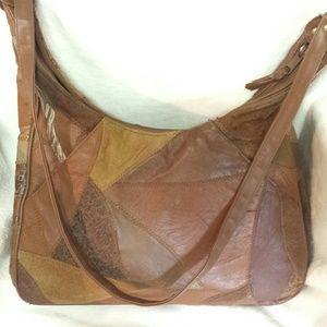 Vintage Leather Patchwork Boho Crossbody Purse
